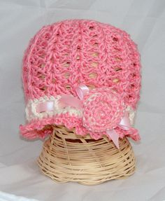 Crochet Baby Hat  Cloche beanie with rose applique by hamburke, $30.00