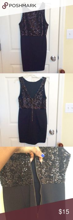 Sequined Black Forever 21 Party Dress (LBD) BRAND NEW, NWT‼️. This beautiful LBD is perfect for a party, date, or night out with the girls! All eyes will surely be on you in this sequined above-the-knee dress that fits like a glove. The top half is fully sequined, front and back, and the bottom half is a stretchy yet forgiving material. There is a zipper in the back that works perfectly, and a bra can easily be worn with this little black dress. Paired with heels and a statement necklace…