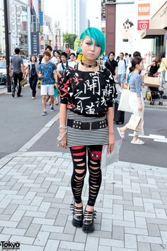 Japanese Girls Fashion 2014 Aqua Hair Galaxxxy Kanji