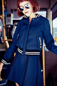 Navy Blue Baseball Jacket and Skirt – Dadaism Fashion