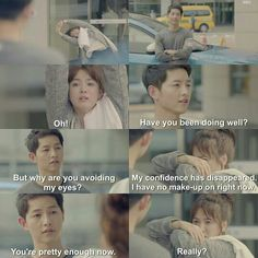 Song Joong-ki as Yoo Shi-jin and Song Hye-kyo as Kang Mo-yeon Descendants of the sun Korean Drama Funny, Korean Drama Quotes, Desendents Of The Sun, Song Joon Ki, Songsong Couple, Drama Fever, Kdrama Memes, Song Hye Kyo, Japanese Drama