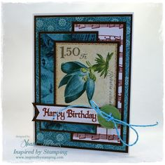 Tropical birthday card created with stamps from IBS Big Wishes, Big Notes II, and Background Basics III sets. Paper from Graphic 45 Paradise Postage and Oceania.