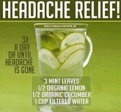 The Headache Relief Juice. This recipe can not only relieve the pain, but it can also detoxify your body from all the toxins away which may be the reason of your headache. So, try this and drink to a healthier you! Don't forget to SHARE and pass to others Headache Remedies, Headache Relief, Headache Cure, Pain Relief, Headache Diet, Stress Relief, Healthy Drinks, Healthy Tips, Healthy Food