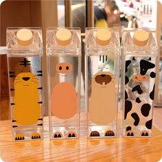 Cute cartoon Bpa Free Creative Hip Flask Sports outdoor Bottle Animal Cow pig Plastic My Water Bottles tiger Milk kettle Cute Water Bottles, Plastic Bottles, Plastic Cups, Plastic Milk, Milk Bottles, Baby Bottles, Cow Cat, Food Storage Boxes, Stainless Steel Types