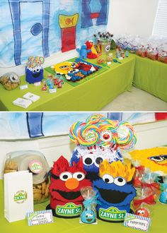 A Sesame Street First Birthday Party with an elmo, big bird and cookie monster cake, oscar the grouch trash can centerpieces, DIY lamppost + Elmo's World backdrop, and Toddler Birthday Themes, Second Birthday Ideas, Elmo Birthday, Boy First Birthday, Boy Birthday Parties, Sesame Street Party, Sesame Street Birthday, Elmo And Friends, Elmo World