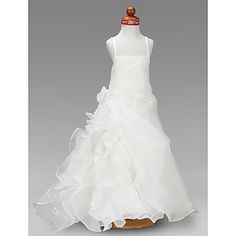 A-line Square Floor-length Organza And Satin Flower Girl Dress  (171368) – EUR € 84.23
