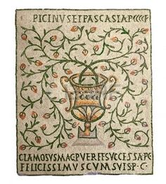 roman mosaic: vase with flowering branches, ancient Byzantine mosaics, the 5th century,