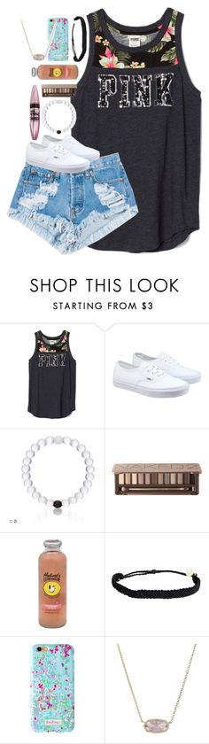 """""""back at again with the white vans """" by shannaolo ❤ liked on Polyvore featuring Levi's, Vans, Maybelline, Urban Decay, Hansen, Pura Vida and Kendra Scott"""