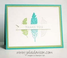 Julie's Stamping Spot -- Stampin' Up! Project Ideas Posted Daily: Four Feathers Sneak Peek + Weekly Deals