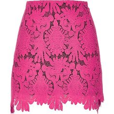 River Island Pink scalloped hem lace mini skirt ($30) ❤ liked on Polyvore featuring skirts, mini skirts, pink, sale, women, river island, a line skirt, pink skirt, short mini skirts and mini skirt