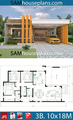 House Plans with 3 bedrooms Full Plans - Sam House Plans House Plans with 3 bedrooms Ful Model House Plan, Bedroom House Plans, Dream House Plans, Small House Plans, Family Home Plans, Bungalow Haus Design, Modern Bungalow House, Bungalow House Plans, Single Floor House Design