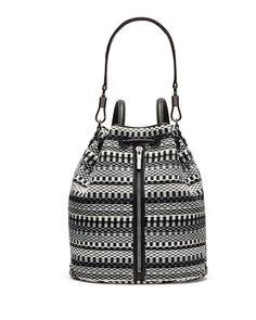 V2HGL Elizabeth and James Cynnie Woven Bucket Bag/Backpack, Gray Multi