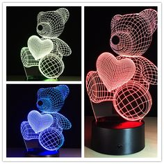 Valentine Gift 3D Illusion Color Changing Bear LED Touch Night Light