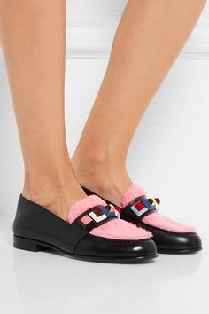 Heel measures approximately 15mm/ 0.5 inches Black leather, pink and burgundy shearling Slip on Made in Italy