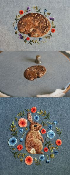 Miniature embroidery by Chloe Giordano // animal embroidery // modern embroidery // hoop art