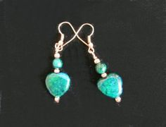 Azurite Chrysocolla Hearts & Copper  Earrings by IsleOfCraftin, $17.00
