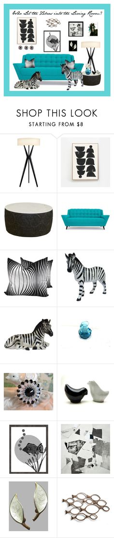 """Who Let the Zebras into the Living Room?"" by anna-ragland ❤ liked on Polyvore featuring interior, interiors, interior design, home, home decor, interior decorating, Sonneman, Selamat, Joybird and Vandor"