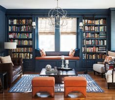 1 Kindesign's collection of 63 Incredibly cozy and inspiring window seat ideas will help inspire your search for the perfect ideas on designing your own window seat. Designing a window seat has always posed Home Library Design, Home Design, Interior Design, Design Ideas, Library Ideas, Library Ladder, Cozy Library, Library Wall, Interior Ideas