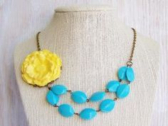 Yellow flower bib necklace, blue beaded necklace $30.00 Buy and Sell Crafts On Line   Handmade Crafts to Sell? Free Posting
