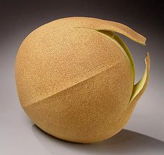 "Yellow glazed sculpture ""Sprouting Seed""  - Fujino Satchiko"