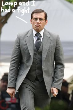 Steve Carell spotted in costume as Brick Tamland on the Anchorman 2 set.