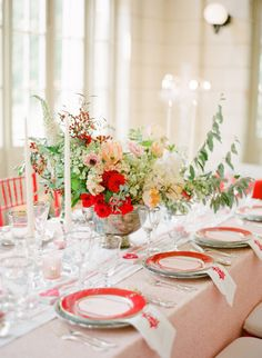 Romantic pink & red reception: http://www.stylemepretty.com/2014/02/17/romantic-red-wedding-inspiration/ | Photography: KT Merry Photography - http://ktmerry.com/