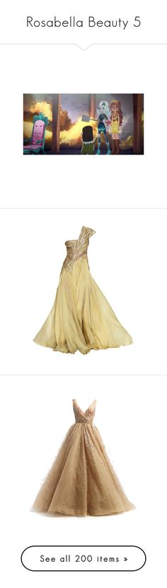 """Rosabella Beauty 5"" by bluetidegirl ❤ liked on Polyvore featuring dresses, gowns, evening gowns, long dresses, beige evening dresses, beige long dress, beige gown, beige dress, vestidos longo and one shoulder bridesmaid dresses"