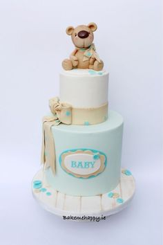 Baby bear christening cake