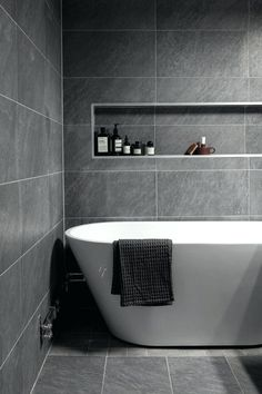 Nice size tile - maybe if it was a little lighter it would be nice used & Gray Bathroom Ideas That Will Make You More Relaxing At Home ...