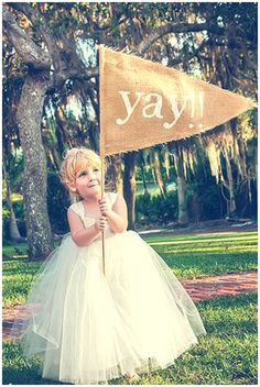 40+ Hessian Wedding Ideas - giant hessian burlap flag for flower girls to carry down the aisle #weddingideas #hessianwedding #rusticweddingideas ::: Open Aire Affairs. Unique. Events. Venues. www.openaireaffairs.com::