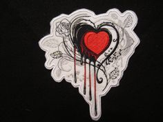 Embroidered Bleeding Heart Iron On Patch, Heart Patch, Valentine Patch, Iron On Patch, Iron On Applique by kayscollection on Etsy https://www.etsy.com/listing/481978344/embroidered-bleeding-heart-iron-on-patch