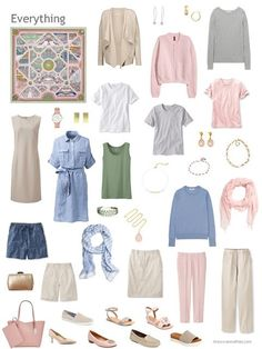 a capsule wardrobe in beige, denim blue, pink and grey