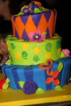 Our custom wedding cake for my subtle rainbow themed wedding- designed by my old man and I and constructed at Gayles Bakery in Capitola, California.  Inside was lemon with fresh olallieberry jam that my mother-in-law lovingly made...picked the berries and everything! Extra jam was in the welcome bags out of towners received!
