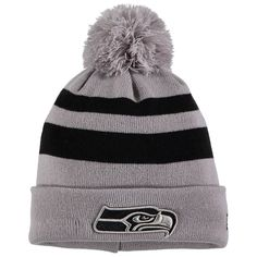 c899351a23b Men s Seattle Seahawks New Era Gray Rebound Pom Cuffed Knit Hat