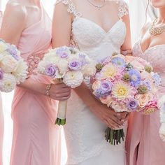 This #bride and her pastel-clad #bridesmaids have us tickled pink- each gown is…