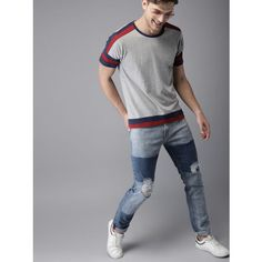 Buy HERE&NOW Men Grey Melange T-shirt online in India at best price.Sleeve Styling : Regular Sleeves Multipack Set : Single Occasion : Casual Main Trend : New Basics Print Sweat Shirt, Neck T Shirt, Tee Shirts, Types Of Sleeves, Short Sleeves, Creative T Shirt Design, Track Suits, Men's Collection, Dark Denim