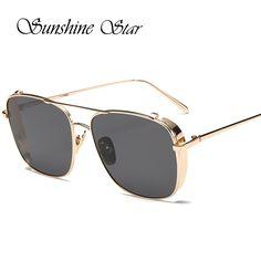 Pop Age Luxury Brand Designer Alloy Fashion Square Sunglasses Women Men Mirror Gradient Sun Glasses High Quality Lunettes