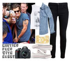 """""""Meeting Fans with Harry"""" by tonioverthetop ❤ liked on Polyvore featuring Proenza Schouler, dELiA*s, Scotch & Soda, Tory Burch, Converse and Nikon"""