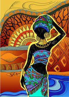 African Art gallery for African Culture artwork, abstract art, contemporary art daily, fine art, paintings for sale and modern art Art Indien, African Art Paintings, African Artwork, Afrique Art, African Quilts, Art Tribal, Art Premier, Black Artwork, Inspiration Art