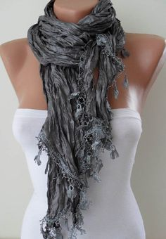 Grey Scarf with Grey Trim Edge by SwedishShop on Etsy, $17.90