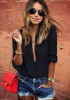 Black Plain Buttons Lapel V-neck Long Sleeve Loose Casual Blouse - Blouses - Tops