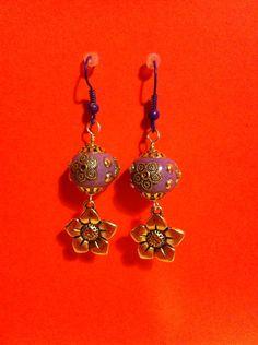 https://www.etsy.com/shop/MoggysMall  #lilac, #purple, #earrings, #flower, #studs, #beads, #boho, #jewellery
