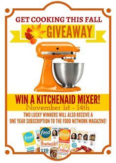 Spice up your holiday's menus and spruce up your presentation with this holiday cooking Kitchen Aid and Food Network giveaway. Open Nov 1-14.