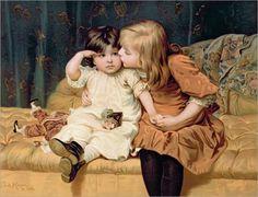 Frederick Morgan -  zwei Mädchen in festlichen Kleidern