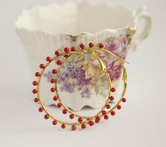 Red agate gold hoop earrings wire wrapped with small red or