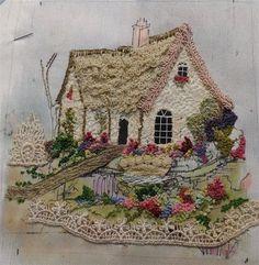♒ Enchanting Embroidery ♒  little cottage Vintage World Maps, Landscape Design, Landscape Designs