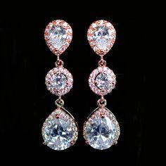 Handmade Cubic Zirconia CZ Rose Goldplate Dangle Earrings (Sparkle-2296-U) #Handmade