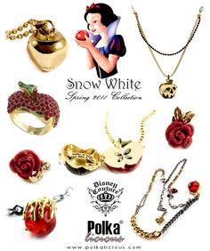 Disney Couture Snow White Spring 2011 Collection - - Visit the post for more. Disney Couture Jewelry, Disney Jewelry, Cute Jewelry, Jewelry Accessories, Fashion Accessories, White Springs, Disney Outfits, Disney Fashion, Emo Outfits