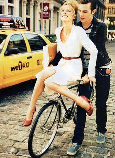 Now You're In New York. Raquel Zimmermann, Caroline Trentini, Nicholas Hoult: Vogue Nippon June 2010.
