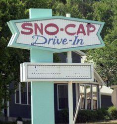 Sno-Cap Drive-In, North Augusta, SC North Augusta, South Carolina, Georgia, Neon Signs, Retro, Cap, Spaces, Future, Baseball Hat